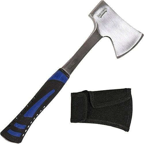 Oak Curve Outfitters Camp Axe with Sheath - 14 Inch Small Compact 2 Pound Forged Carbon Steel Hatchet - Heavy Duty Camping Hand Tool - Splitting Firewood and Hammer Function - Wilderness Survival Gear