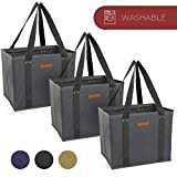 Reusable WASHABLE Grocery Shopping Cart Trolley Bags - set of 3 and 4 | Large, Durable, Collapsible Tote with Reinforced Sides and Bottoms (Grey, 3)