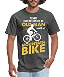 Spreadshirt Never Underestimate an Old Man with A Mountain Bike Men's T-Shirt, L, Heather Black