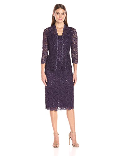 41 vTP0Dq L Two-piece occasion set in sequined stretch lace featuring midi-length dress and three-quarter sleeve jacket with open front Dress features concealed back zipper 3/4 sleeve scoop-neck knee-length dress