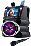 Karaoke USA GF845 Complete Karaoke System with 2 Microphones, Remote Control, 7' Color Display, LED Lights - Works with DVD, Bluetooth, CD, MP3 and All Devices