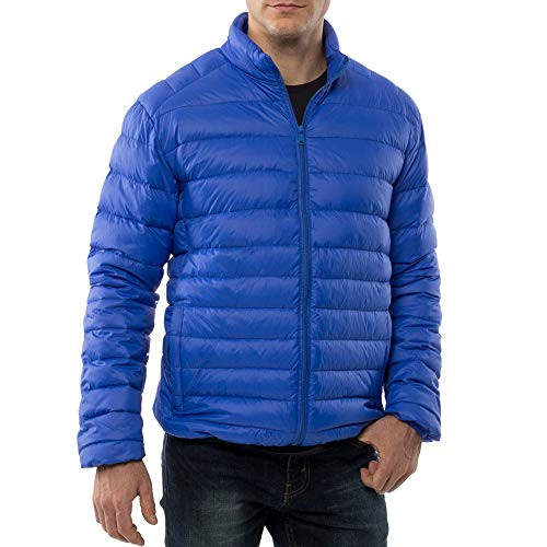 alpine swiss Niko Mens Down Jacket Puffer Coat Packable Warm Insulation & Light BLU 1XL