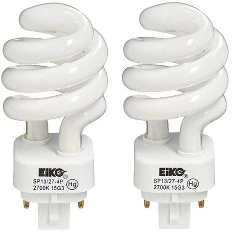 EiKO SP13/27-4P Model Compact Fluorescent Light Bulb (2-Pack), 13 Watts, G24q-1 Base, T-4 Bulb, 3.74'/95mm MOL, 1.97'/50mm MOD, 2.5mg Mercury Content, Liquid HG Form