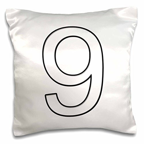 3dRose pc_3174_1 Number 9-Pillow Case, 16 by 16