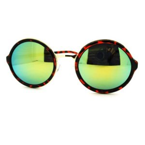5586ebb7fc ... Women  Multicolor Reflective Lens Sunglasses Vintage Round Circle Frame  ...