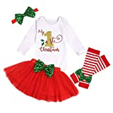 Baby Christmas Outfit My First Christmas Baby Girl Romper + Tutu Skirt + Leg Warmers + Headband 4PC Clothes Set 0-3Months Red