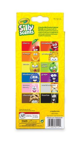 Crayola Silly Scents Scented Colored Pencils, Gift for Kids, 12ct, Assorted, 0.3 x 3.5 x 8.4 inches