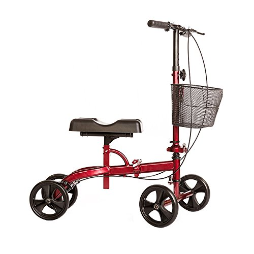 Healthport Knee Walker | Steerable Knees Scooter for Foot Injuries | Folding, Dual Breaks, Parking Mechanism | Increased Turning Radius for Indoor and Outdoor | Glossy Red | Crutches Alternative