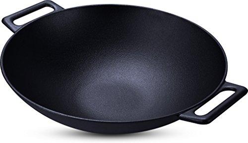 Cast Iron Shallow Concave Wok, Black - by Utopia Kitchen