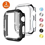 KOLEK Case Compatible with Apple Watch Series 5 4 40mm with Sparkly Rhinestones on, Black Silver