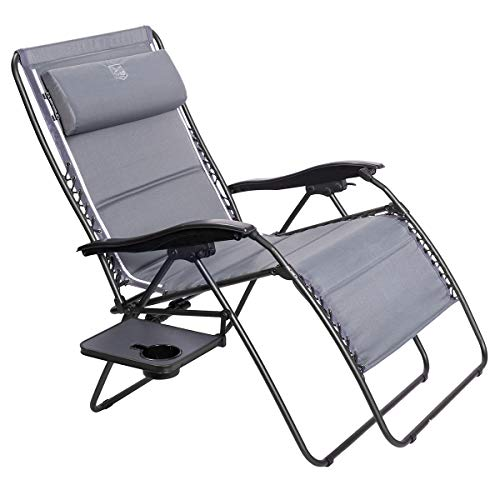 Timber Ridge Zero Gravity Patio Locking Lounge Chair Oversize XXL Padded Adjustable Recliner with Headrest Support 600lbs, Gray