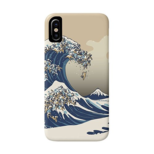 DEYING Phone Case The Great Wave of Pug Art Pattern Protector Cover for iPhone X