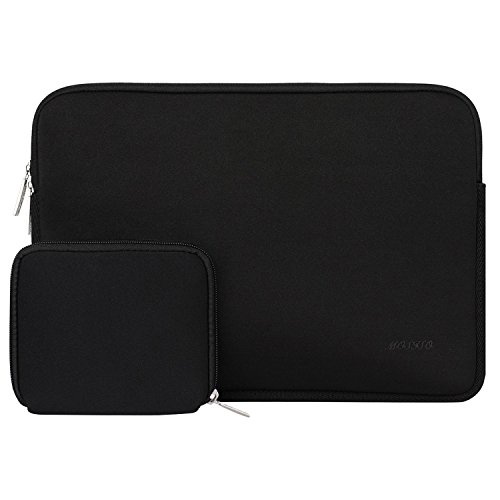 MOSISO Water Repellent Neoprene Laptop Sleeve Bag Cover Compatible 15-15.6 Inch MacBook Pro, Notebook Computer with Small Case, Black