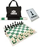 WE Games Best Value Tournament Chess Set - Plastic Chess Pieces and Green Roll-Up Vinyl Chess Board