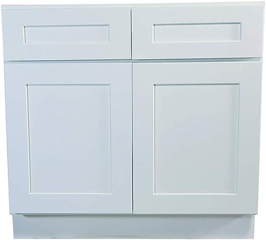 Amazon Com Design House Brookings 42 Fully Assembled Kitchen Base Cabinet White Shaker Furniture Decor