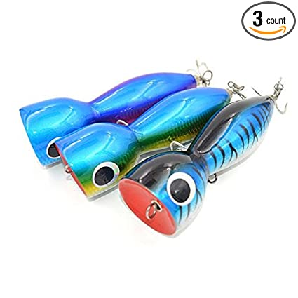 7inch/140g GT Tuna Offshore Game Fishing Wooden Popper Lures 3pieces