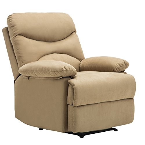 Mecor Real Relax Heated Vibrating Massage Recliner Chair Microfiber Sofa Ergonomic Lounge 8 Point Massage with Remote (Light Brown)