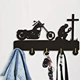 AZUDAN |Hangers & Racks|1Piece Biker Praying at Cross Motorcycle Wall Hook for Clothes Bag Keyring Creative Hanger Motorbike Riders Motorcyclist