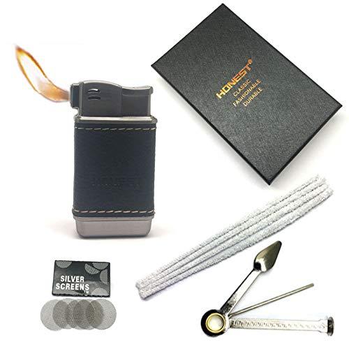 Honest Pipe Lighter Soft Flame Refillable Butane Lighters Czech Pipe Tools (Titanium+Black Leather)