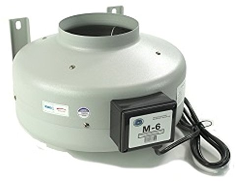 Tjernlund M-6 Inline Duct Booster Fan, Hydroponic Blower Heat Air Conditioning Vent Exhaust, 460 CFM, 6'