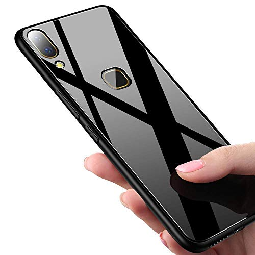 Explocart Electroplated Luxury 3-in-1 Slim Fit Hard with Glass and TPU Bumper Back Case Cover for Xiaomi Redmi Note 7 Pro - Black 157