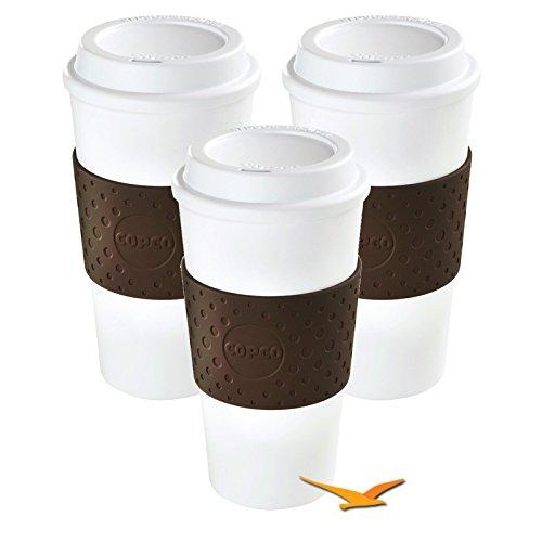 Copco Eco-First Acadia Reusable To Go Mug BPA-Free, Brown - 3-Pack