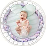 Baby Crib Bumper Knotted Braided Bumper Handmade Soft Knot Pillow Nursery Cradle Decor Newborn Gift Crib Protector (4 Strands with Purple-Pink-Gray-White, 118 inch)