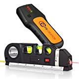 OFIRCREATION 3-in-1 Laser Level w/Built-In Measuring Tape | Multipurpose Woodworking, Contractor Tool | Imperial & Metric Measurements | Vertical & Horizontal Use | BONUS - Stud Finder