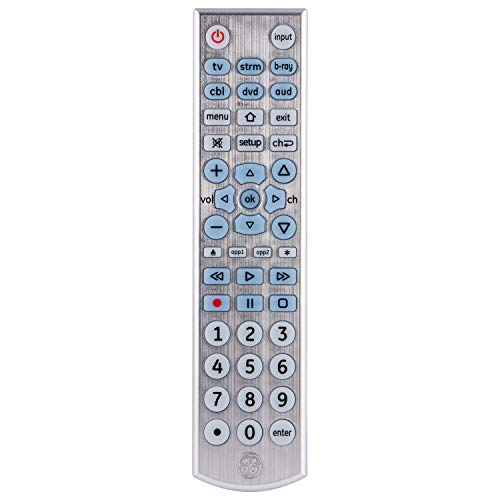 GE Universal Remote Control for Samsung, Vizio, LG, Sony, Sharp, Roku, Apple TV, RCA, Panasonic, Smart TVs, Streaming Players, Blu-ray, DVD, Simple Setup, 6-Device, Backlit, Big Buttons, Silver, 33712