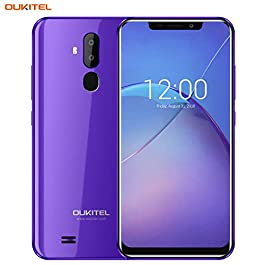 "OUKITEL Unlocked Smartphones, Cell Phones Unlocked Android Phones with Dual Sim 6.18"" Notch Display, Face ID + Fingerprint, 16GB + 2GB, Dual Camera, 3300mAh Battery (International Version) (Purple) title"