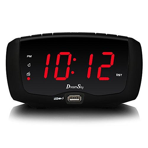 DreamSky Digital Alarm Clock Radio with FM Radio, Dual USB Ports for Charging, 3.5 mm Headphone Jack, Snooze, Adjustable Alarm Volume,1.4' Large LED Number Display, Sleep Timer
