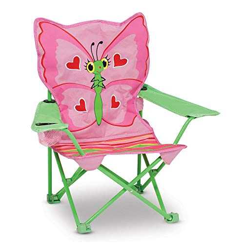 Melissa & Doug Bella Butterfly Child's Outdoor Chair (Easy to Open, Handy Cup Holder, Cleanable Materials, Carrying Bag, 23.7' H x 6.7' W x 6.7' L)