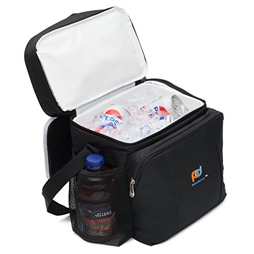 MOJECTO Two Compartments Cooler Lunch Bag with Removable Leakproof Plastic Hardliner Bucket. Premium Fabric, Thick Foam Insulation, Large Pockets and Zippers. Medium Lunch Bag for Everyday Use.