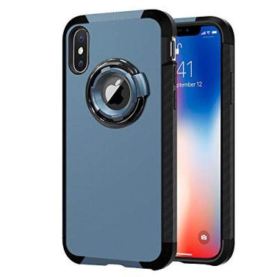 Cover iPhone XS/iPhone X, G-Color Custodia Anticaduta Posteriore Armatura con Silicone [Protezione Completa] Antiurto Cover per Apple iPhone XS/iPhone X, Blu-(Garanzia a Vita)