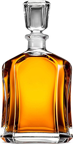 Paksh Novelty Capitol Glass Decanter with Airtight Geometric Stopper - Whiskey Decanter for Wine, Bourbon, Brandy, Liquor, Juice, Water, Mouthwash