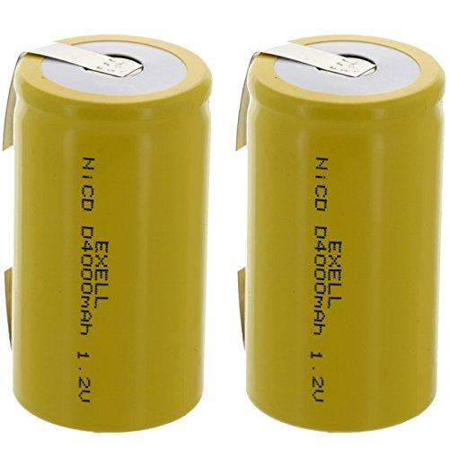 2x Exell D Size 1.2V 4000mAh NiCD Rechargeable Batteries with Tabs for meters, radios, hybrid automobiles, high power static applications (Telecoms, UPS and Smart grid), radio controlled devices