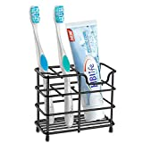 hblife Toothbrush Holder, Small Stainless Steel Toothpaste Holder Bathroom Accessories Organizer, Black
