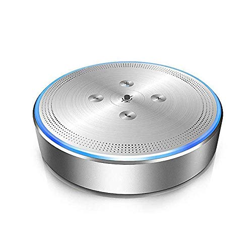 Bluetooth Conference Speaker - eMeet M1 Silver Wireless Conference Phone Conference Speakerphone 360° Audio Pickup LED Indicate Conference Call Speaker 6+1 Microphone, for Skype Mobile Phone