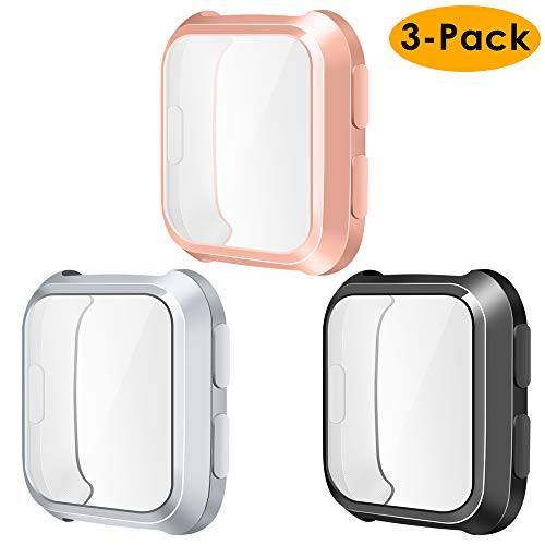 NANW Compatible Fitbit Versa Screen Protector Case, 3-Pack TPU Rugged Bumper Case Cover All-Around Protective Plated Bumper Shell Compatible Fitbit Versa Smartwatch [Scratch-Proof]