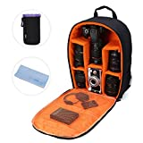 Camera Bag Camera Backpack Waterproof 16' X 13' X 5' with Rain Cover for DSLR Cameras, Lens, Tripod and Accessories (Orange, Large)
