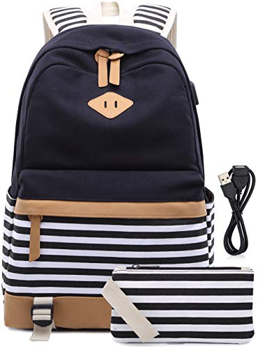 Canvas Backpack Girls Stripe School Bookbag Women College Backpack With USB Port Black