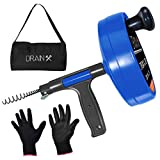 Drainx Pro 35-FT Steel Drum Auger Plumbing Snake | Drain Snake Cable with Work Gloves and Storage Bag