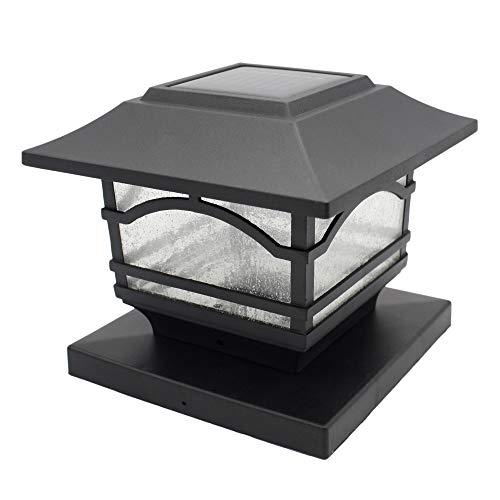 Davinci Premium Solar LED Post Cap Light – Outdoor Light for Fence Deck or Patio - Solar Powered Caps, Warm White Lighting, Aluminum, Lamp Fits 4x4 or 6x6 Posts
