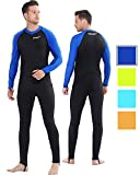 COPOZZ Wetsuit Mens Womens Youth Wetsuit - Full Body UV Protection - for Diving Snorkeling Surfing Spearfishing Sport Skin (Black/Navy-Blue, XX-Large for Men)