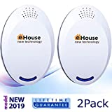 Ultrasonic Electronic Repellent - Best Plug in - Get Rid Of - Rodents, Squirrels, Mice, Rats, Bats, Insects - Roaches, Spiders, Fleas, Bed Bugs, Flies, Ants, Mosquitos, Fruit Fly! 2Pack (Model BH4)