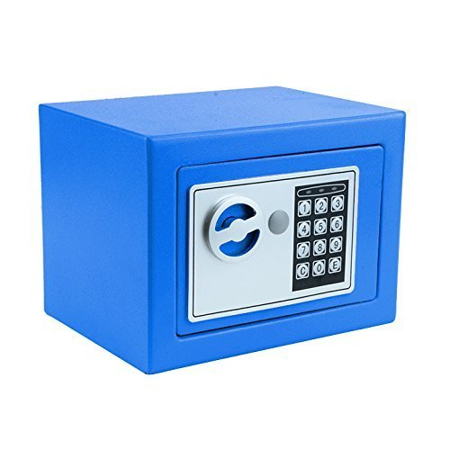 Kaluo Small Home Safe Security Safe Box Electric Digital Lock Wall Cabinet Safe for Jewelry Cash, 8.9' X 6.5' X 6.5', with 2 Keys (Blue)