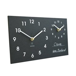 Eco Recycled Dual Time Zone Classic Wall Clock