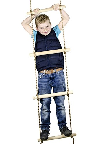 Squirrel Products 6 ft. Climbing Rope Ladder for Kids - Swing Set Accessories - Additions & Replacements for Active Outdoor Play Equipment