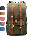 EverVanz Outdoor Canvas Leather Backpack, Travel Hiking Camping Rucksack Pack, Large Casual Daypack, College School Backpack, Shoulder Bags Fits 15' Laptop Tablets