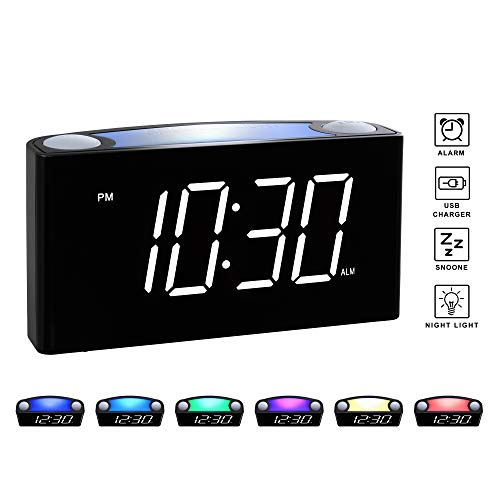 Rocam Digital Alarm Clock for Bedrooms - Large 6.5' LED Display with Dimmer, Snooze, 7 Color Night Light, Easy to Set, USB Chargers, Battery Backup, 12/24 Hours for Heavy Sleepers, Kids, Desk, Elderly